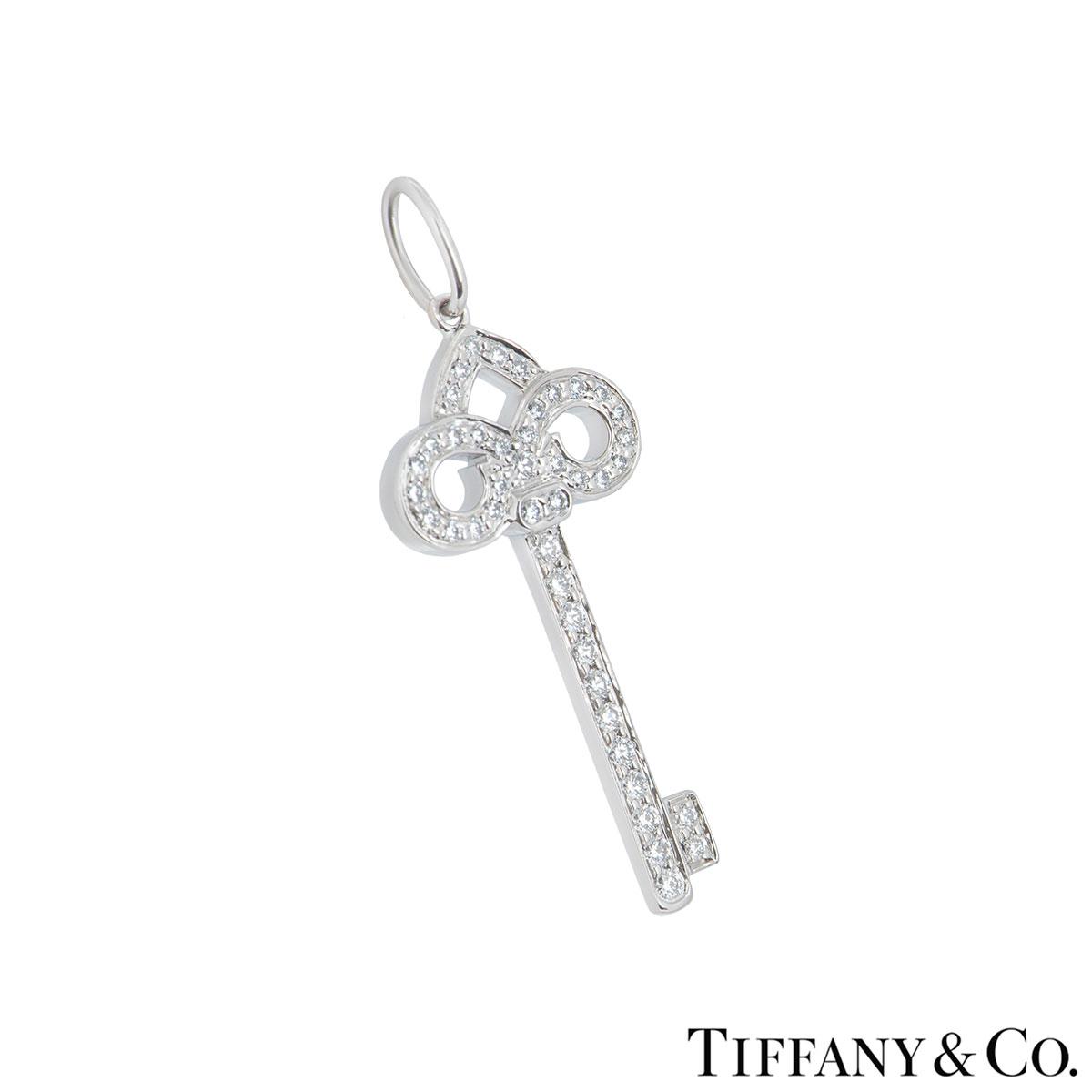 Tiffany & Co. Platinum Diamond Fleur De Lis Key Pendant
